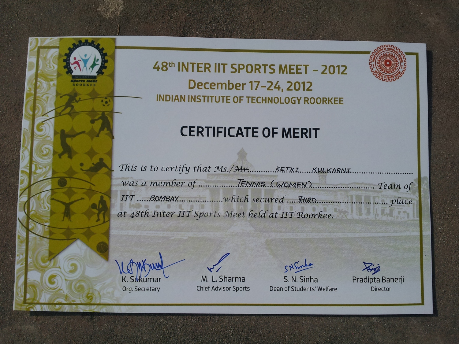 inter iit sports meet 2012 roorkee schedule